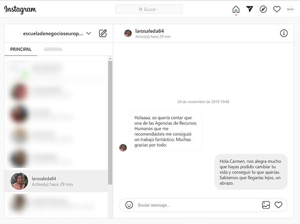 Mensaje en Instagram de la Alumna Carmen Rosaleda